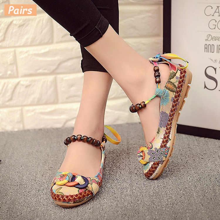 """Cresfimix zapatos de mujer """"Phụ nữ Trung Quốc truyền thống Flat với chuỗi hạt nữ thoải mái cao chất lượng Giày đế bằng"""