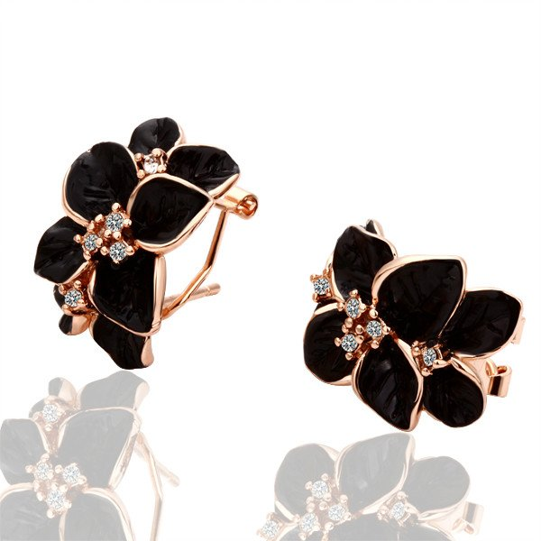 E018 Gold Black Rose Freeshipping, Rose Gold Color earrings, Fashion jewelry, nickel free,  , Rhinestone