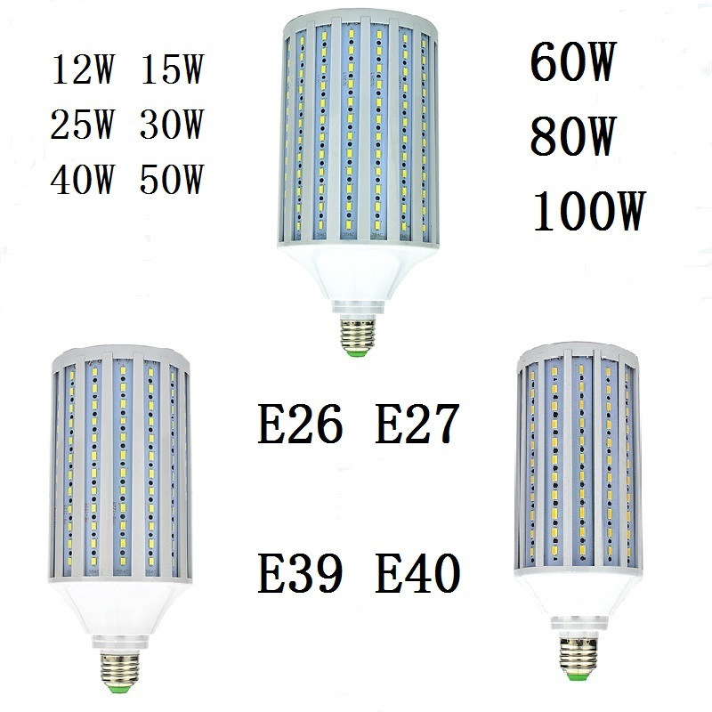E26 E27 <font><b>LED</b></font> Bulb E39 E40 <font><b>LED</b></font> Lamp SMD5730 110V <font><b>220V</b></font> 12W <font><b>15W</b></font> 25W 30W 40W 50W 60W 80W 100W Corn Light Chandelier Lighting for Home image