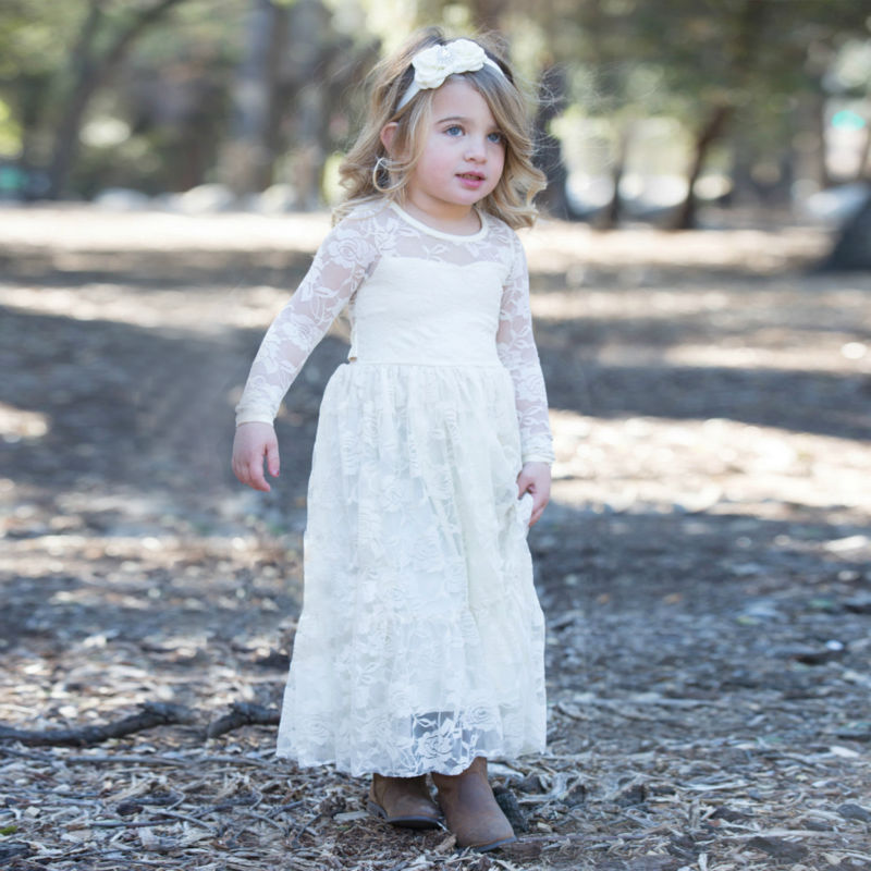 Flower Girls Dresses For Wedding Gown Lace Kids Evening Gowns Long Girls Clothes Pageant Dress Full Sleeve Mother Daughter Dress