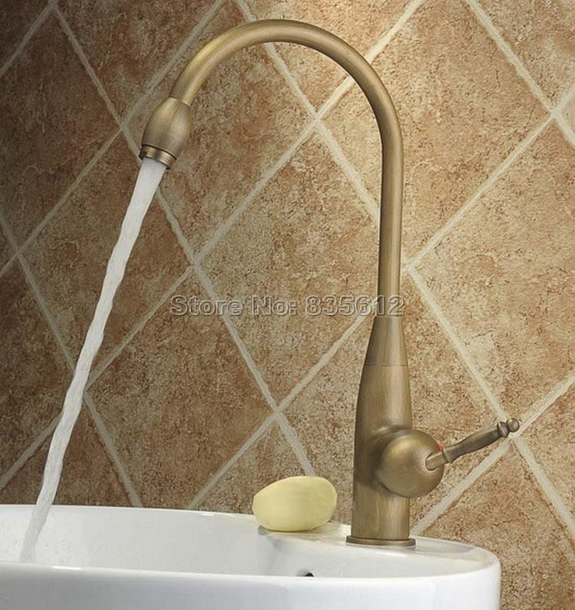 Bathroom Faucet / Kitchen Sink 360 Swivel Spout Deck Mounted Single Hole Vessel Sink Classic Antique Brass Mixer Taps Wnf004 antique copper 360 swivel spout bathroom basin faucet single hole deck mounted single handle vessel sink mixer taps wnn008