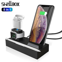 8 in 1 10W QI Wireless Charger Dock Station Fast Charging For iPhone 7 XR XS Max for Airpods 2019 Apple Watch 4 3 For Samsung