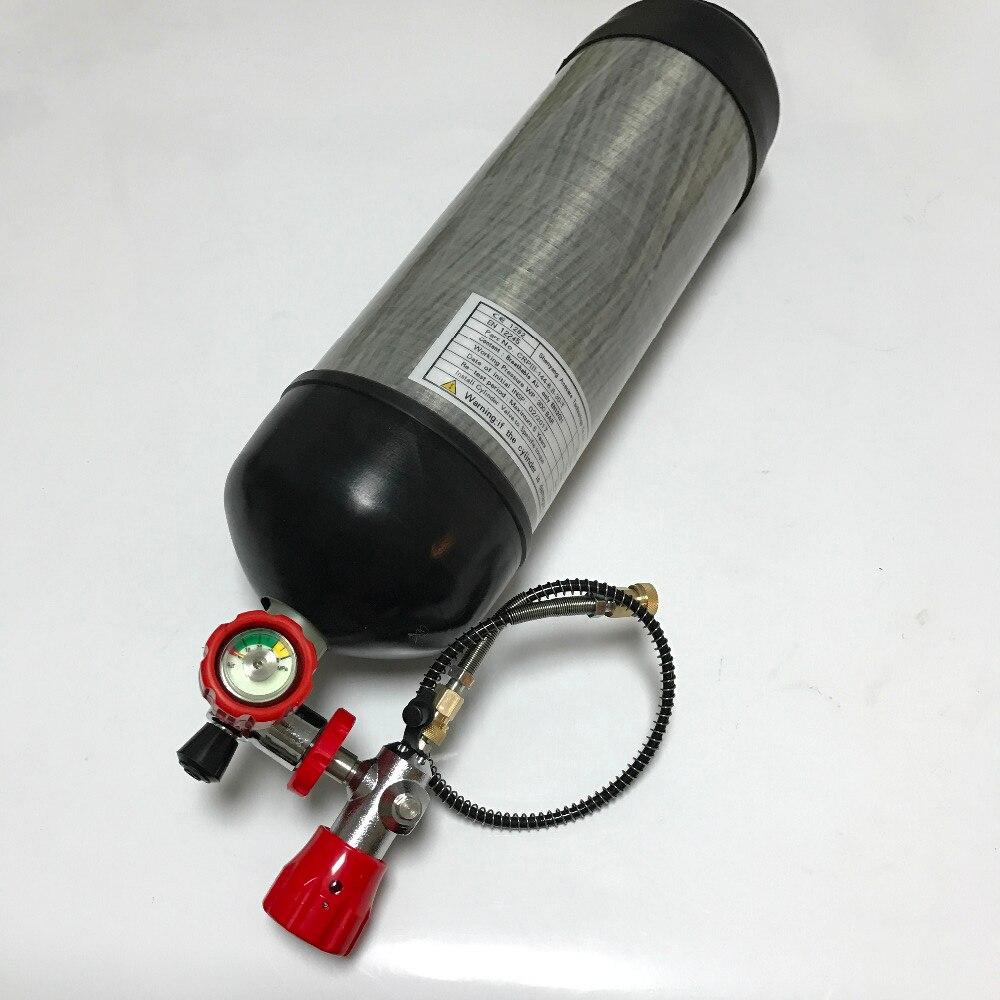 Acecare CE Certification Chasse Airsoft Pistolet Paintball Réservoir 6.8L 4500psi Plongée En Fiber de Carbone Cylindre & Valve & Station De Remplissage