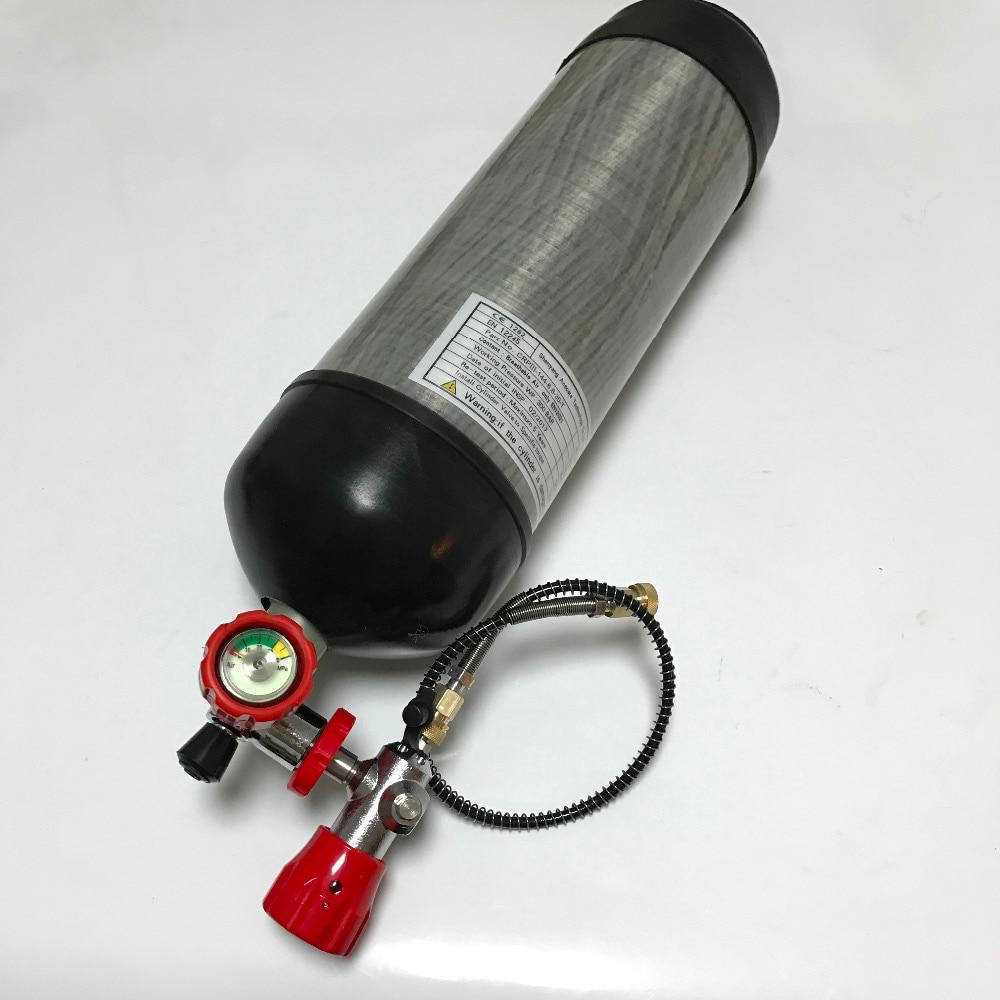 Acecare Certificazione CE di Caccia di Airsoft Pistola Paintball Serbatoio 6.8L 4500psi In Fibra di Carbonio Scuba Cilindro & Stazione Della Valvola e Valvola di Riempimento