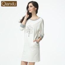 Qianxiu Office Lady 2016 Casual Nightgown For Women Three Quarter Sleepskirts Knee-length Sleepwear Underwear Sleepshirts onesie