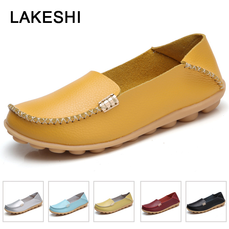 2019 Fashion Genuine Leather Women Flats Shoes Woman Ballet Flats Female Loafers 18 Color Moccasin Slip-On Ladies Shoes Mother