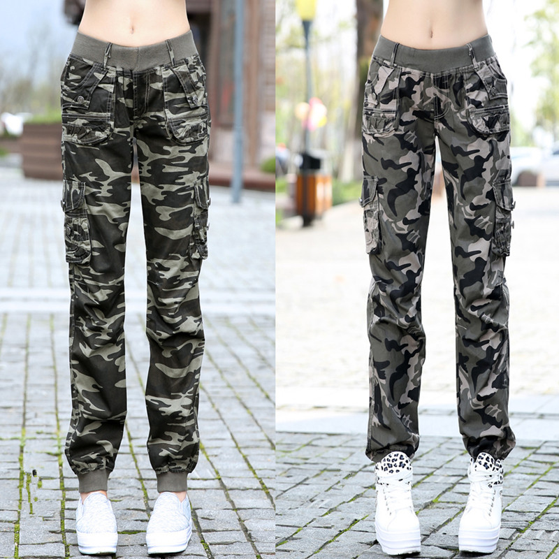 New WOMENS LADIES ARMY BAGGY CAMOUFLAGE BRACES CARGO TROUSERS COMBAT WIDE