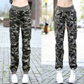 Autumn Winter women military camouflage baggy harem trousers overalls jeans Ladies girl Multi-pocket cargo pants