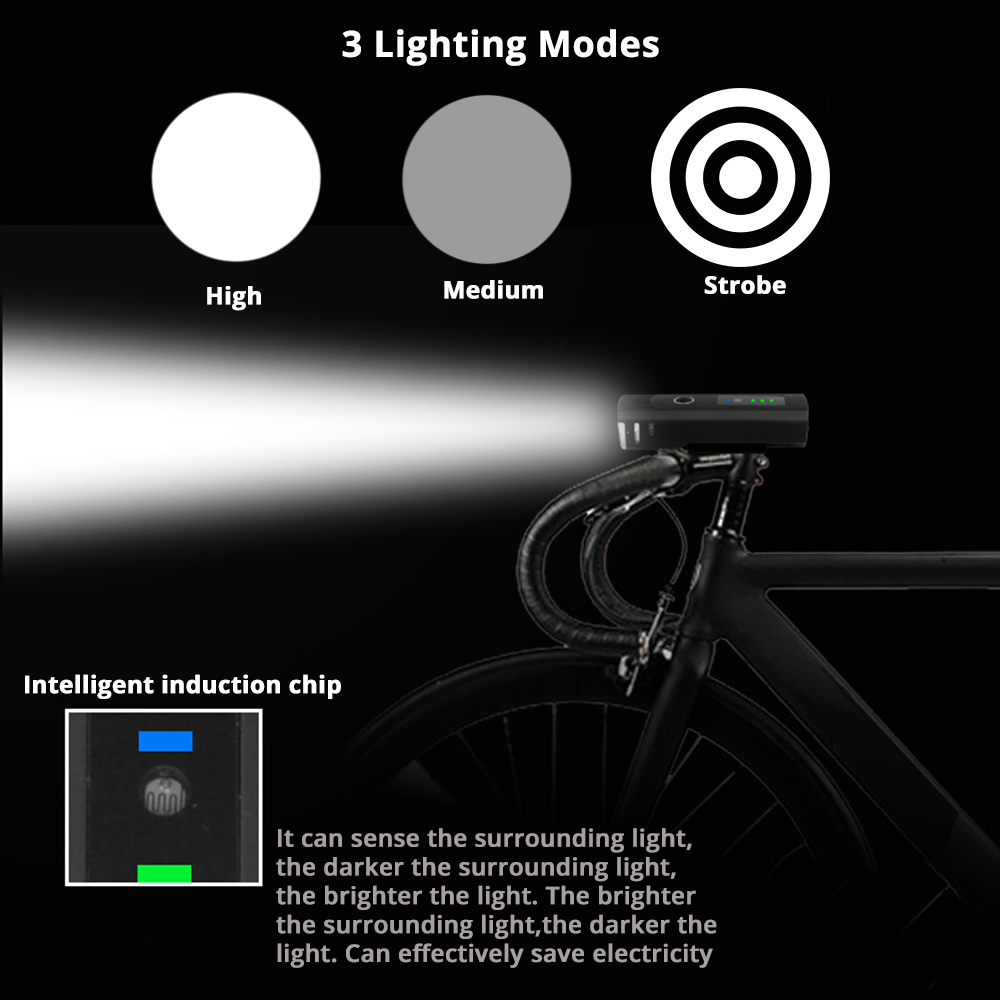USB rechargeable bicycle light 3 lighting mode LED bike light waterproof anti glare intelligent induction easy to install in Bicycle Light from Sports Entertainment