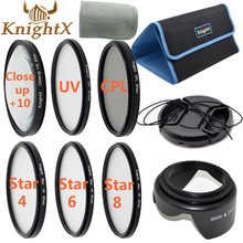 KnightX uv CPL nd filtro Estrela cruz Kit de Lente para Canon Nikon d5200 d5100 d3200 Câmera Digital Sony 67mm 52mm 58mm 55mm 62mm 49