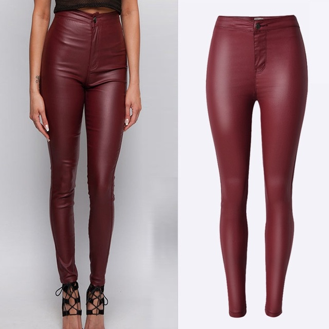 1d5ced9410c Fashion Plus Size Wine Red Skinny High Waisted Pants women Coating faux  Leather Pant Pantalon Pour Femme Pantalones Mujer