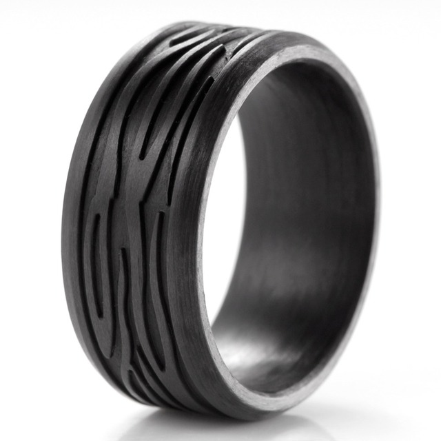 SHARDON Solid Men's Wave Ultralight Carbon Fiber Ring Engagement  Wedding Ring Minimalist Wedding Bands