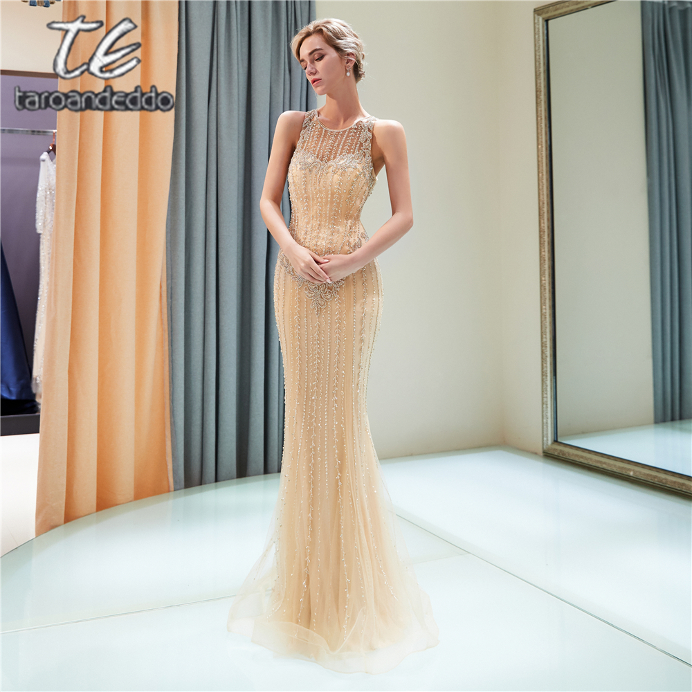 Scoop Mermaid Gold Tulle   Prom     Dresses   Sleeveless Illusion Back Evening Formal Party   Dress   Vestido De Festa