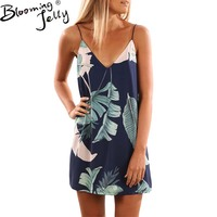 Blooming Jelly Sexy Deep V Neck Spaghetti Strap Dress White Blue Floral Print Mini Dress Casual