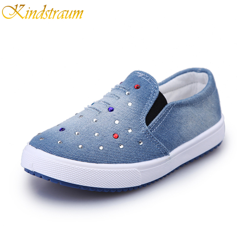 Kindstraum Brand Children Paillette Denim Shoes Kids Slip On Sneakers Spring Summer Fashion Canvas Shoes Baby