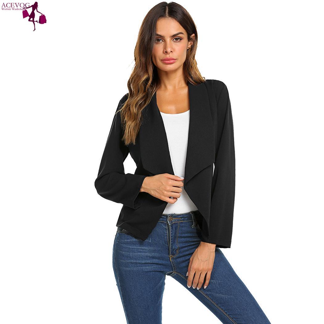8c191947d4 ACEVOG Women Jacket Tops Open Front Turn-Down Collar Belt Casual Long Sleeve  Slim Jackets