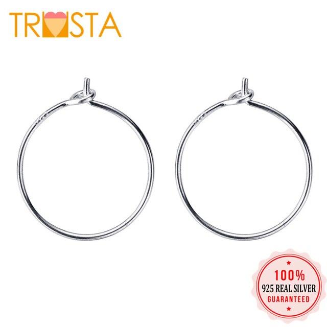 a4ee5b697 Trusta 2019 100% 925 Solid Real Sterling Silver Hoop Earrings For Women Girl  Fashion Fine Jewelry ED100