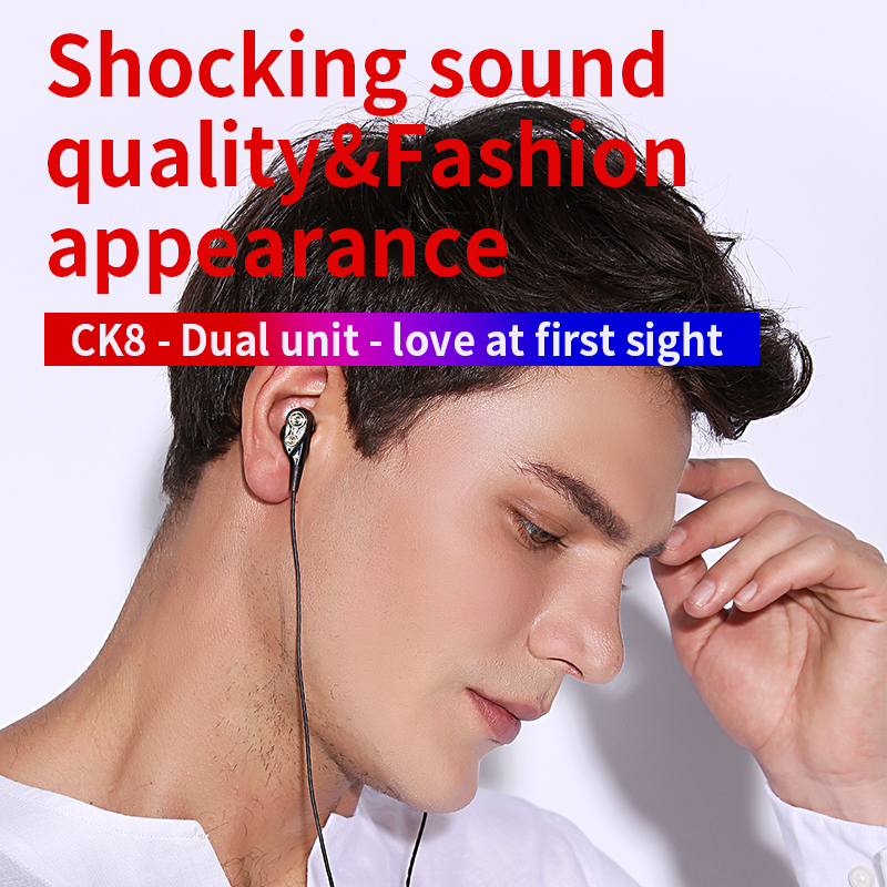 QKZ CK8 Dual Driver Earphones Stereo Bass Sport Running Headset HIFI Monitor Earbuds Handsfree With Mic fone de ouvido in Phone Earphones Headphones from Consumer Electronics