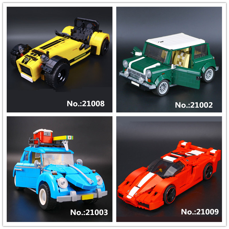 LEPIN 21002 MINI Cooper 21003 Volkswagen Beetle 21008 Caterham Classic 620R sports Racing Car 21009 Model Building Block Toys