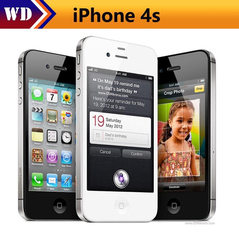 """Used iPhone 4s Unlocked Original Apple iPhone 3.5"""" IPS 8MP Smartphone 512 MB RAM 8/16/32GB Used"""