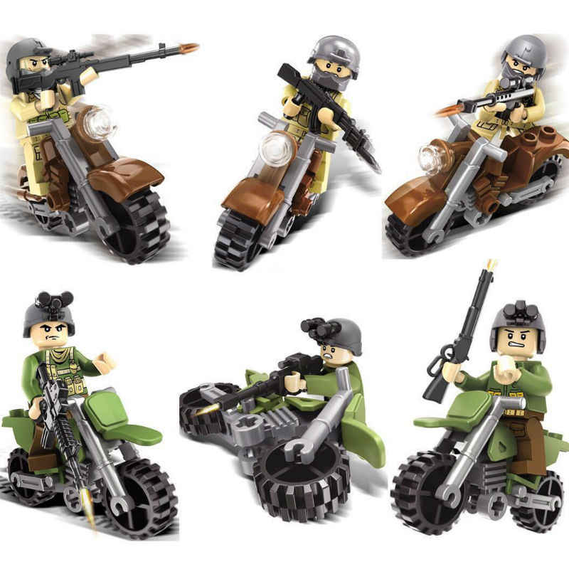 6pcs legoinglys Military Fit Wolf Motorcycle 3D Model Bs Building Blocks Toys for Children Gift
