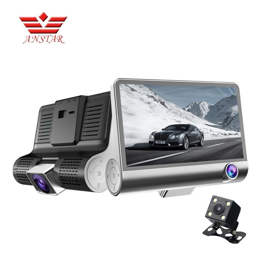 Anstar 4.0 Car DVR Camera Dual Lens with Rearview Registrar Three Camera Night Vision Car DVRS Video Dash Cam Camcorder