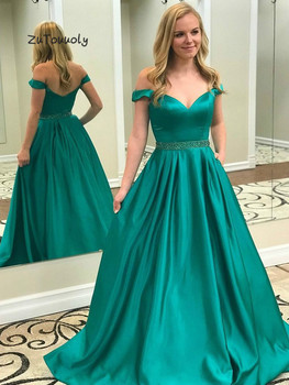 Turquoise Long Evening Dresses Off The Shoulder Silk Satin Junior Boho Prom Dress With Beaded Floor Length Long Party Dress 2019