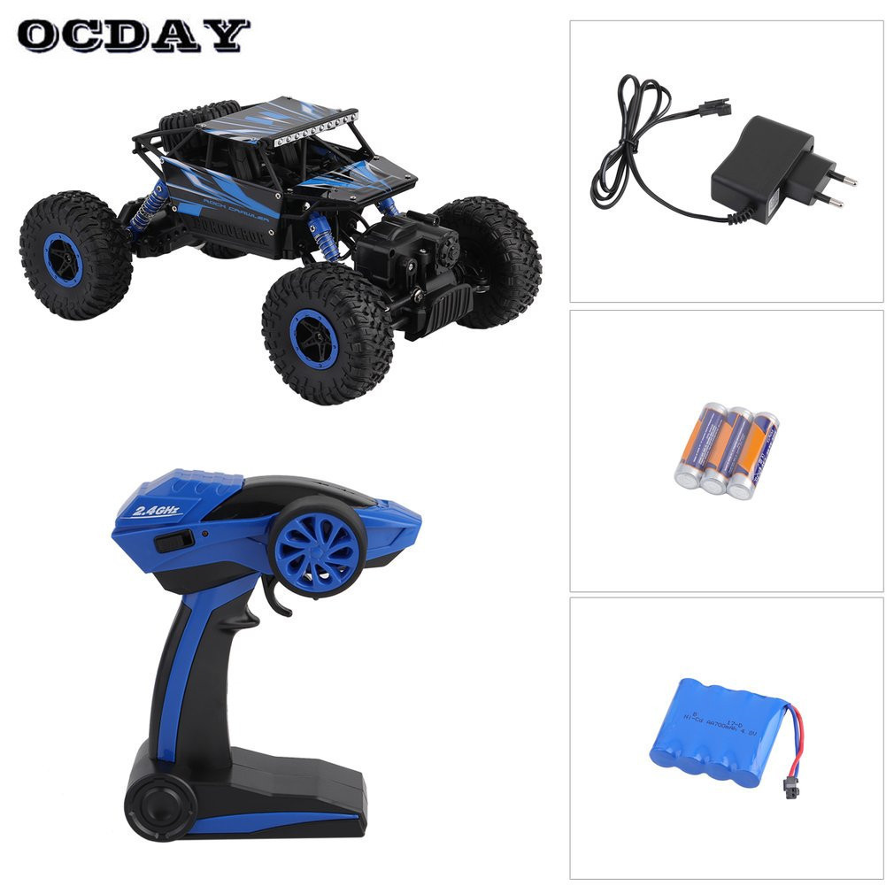 OCDAY EU Plug RC Car Rock Crawlers Driving Car 2.4G 4WD Double Motor Drive Bigfoot Remote Control Car Model Off-Road Vehicle Toy