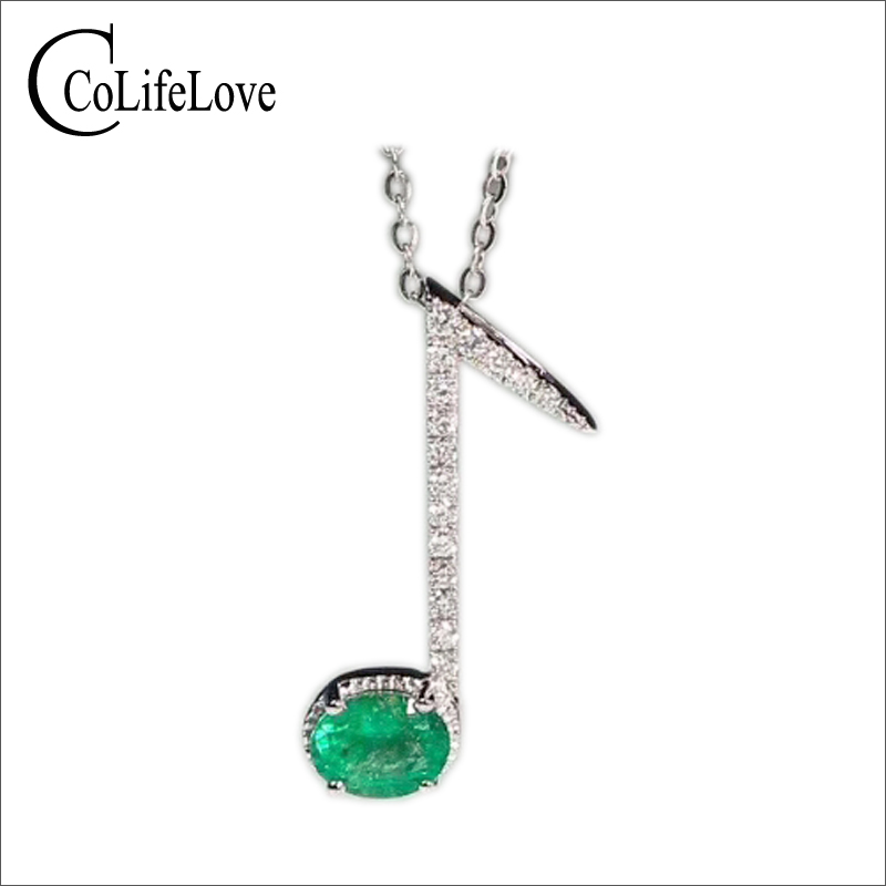Fashion silver music note pendant inlay with 4 mm 5 mm SI grade natural emerald solid