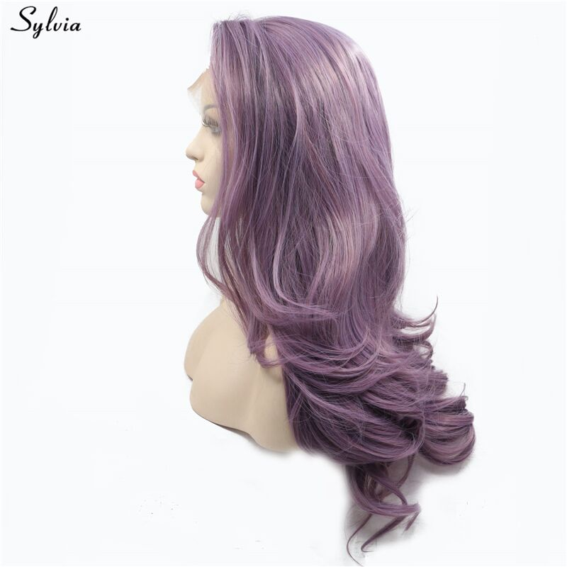 Long purple  wig synthetic lace front