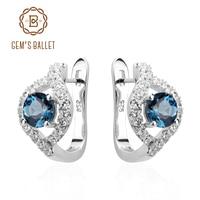 Gem S Ballet Natural London Blue Topaz 100 Pure 925 Sterling Silver Clip Earrings For Women