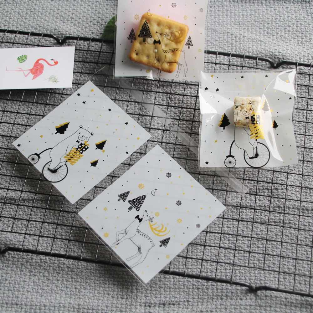 50pcs/lot White Merry Christmas Elk Bear Cookie Bag Bakery Gift Packing Bags Candy Bags