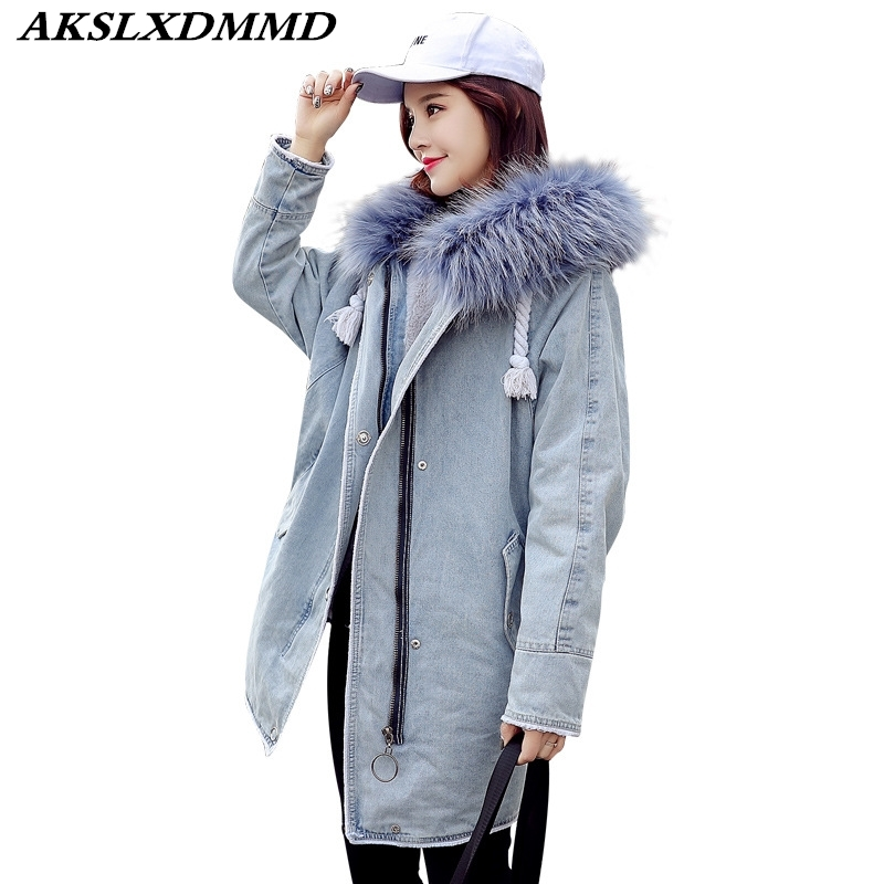 2019 Women Winter Cotton Coat Hooded Fur Collar Cotton Jacket Fashion Solid Denim   Parkas   Thick Warmth Long Coat Outerwear CW049