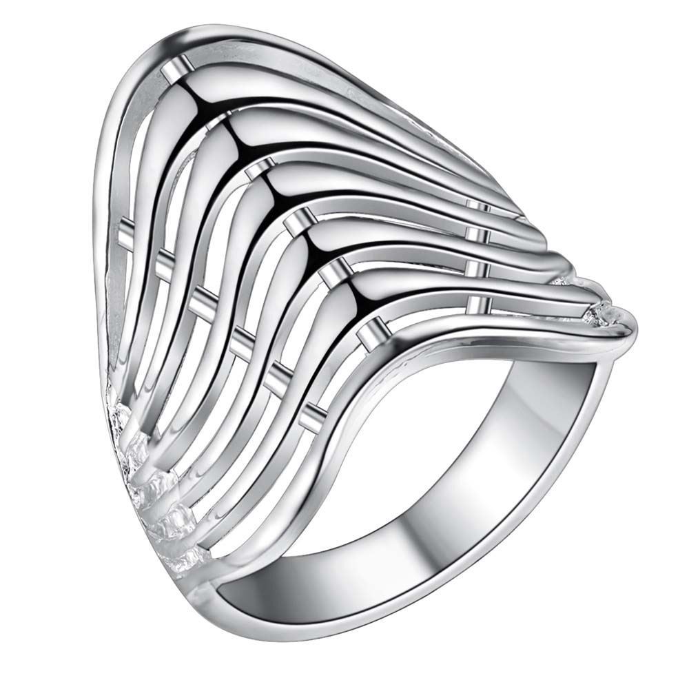 Popular Brand Silver Ring Exaggerated Wave Unique Chic Style Ring Women Lady Xmas Wedding Lover's Valentine's Day Fine 925 To Enjoy High Reputation In The International Market