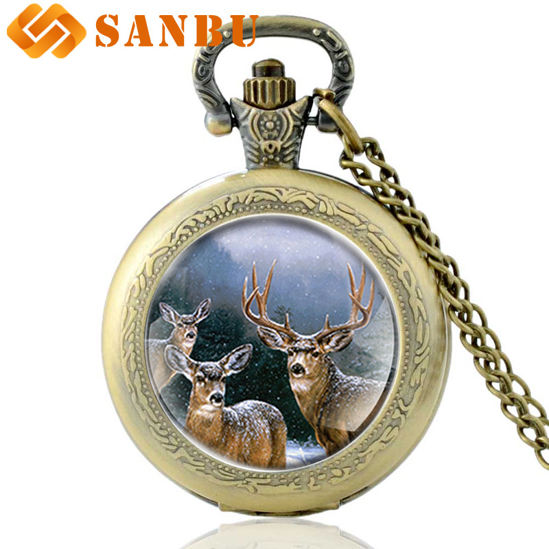Vintage Bronze Elk Quartz Pocket Watch Retro Men Women Pendant Necklace Watches
