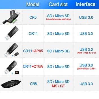 Rocketek usb 3.0 متعددة قارئ بطاقة الذاكرة الذكية وتغ نوع c محول cardreader مصغرة لل مايكرو sd / tf / cf / MS microsd الكمبيوتر المحمول 1