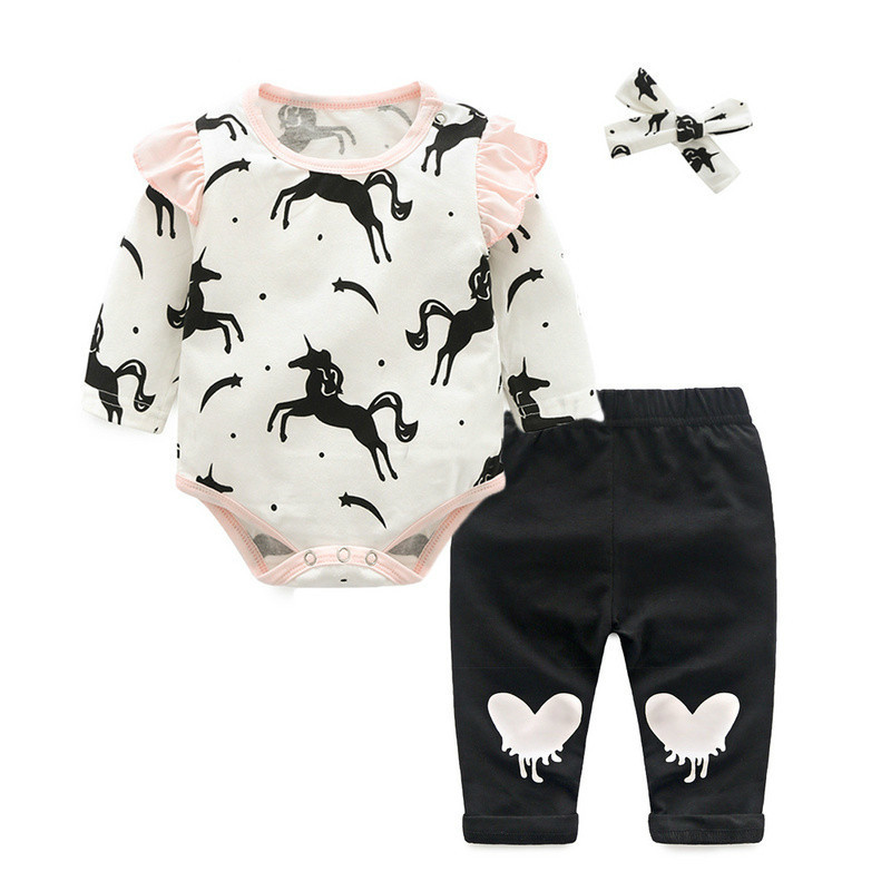 Top and Top Baby Girls Clothing Sets Casual Cartoon Clothes Cotton Long Sleeve Rompers Trousers Bowknot Headhand Princess Suits