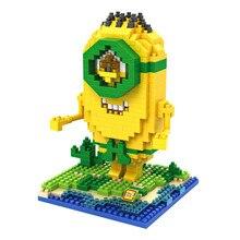 LOZ 9609 Despicable Me Series Minions Cosplay Prehistoric Man Education Diamond Bricks  Building Block Compatible with Legoe