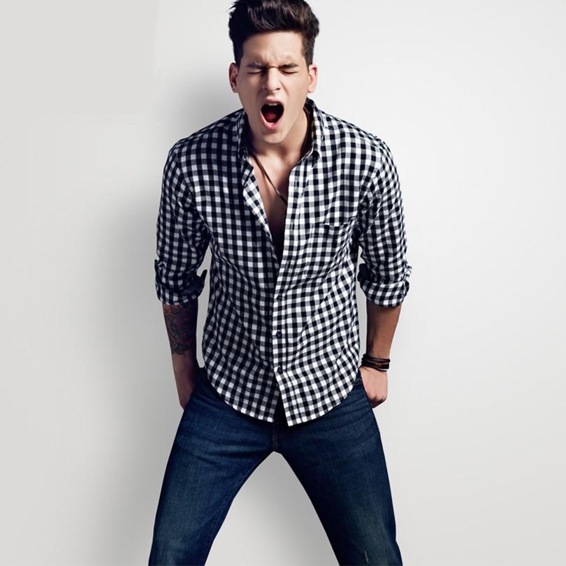 Aliexpress.com Comprar Nueva Moda 2017 Otoño Invierno Hombres Casual  Camisa A Cuadros de Franela de Manga Larga Slim Fit Hombre Ropa Para Hombre  Camisetas