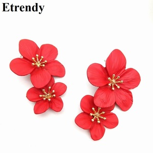 Red Flower Drop Earrings For Women 2019 Double Layers Statement Hanging Pendientes Dangling Fashion Jewelry Yellow