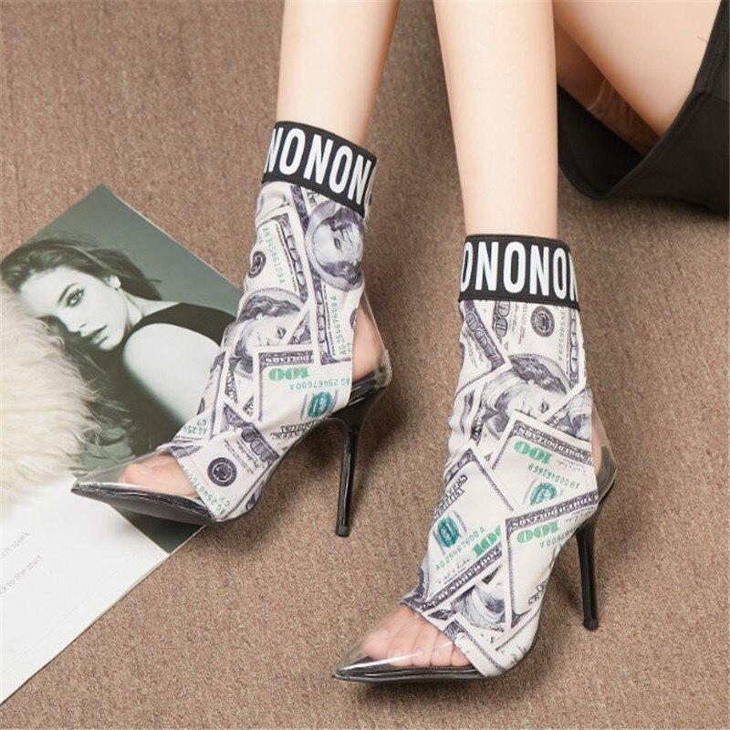 Damen High Rutschen Pvc Schuhe Heels Frauen Stretch Stiefel Kleid Booties Design Party Drucke Mode Sexy Ankle Dollar Mehrfach Auf Klar 4PvAnaA