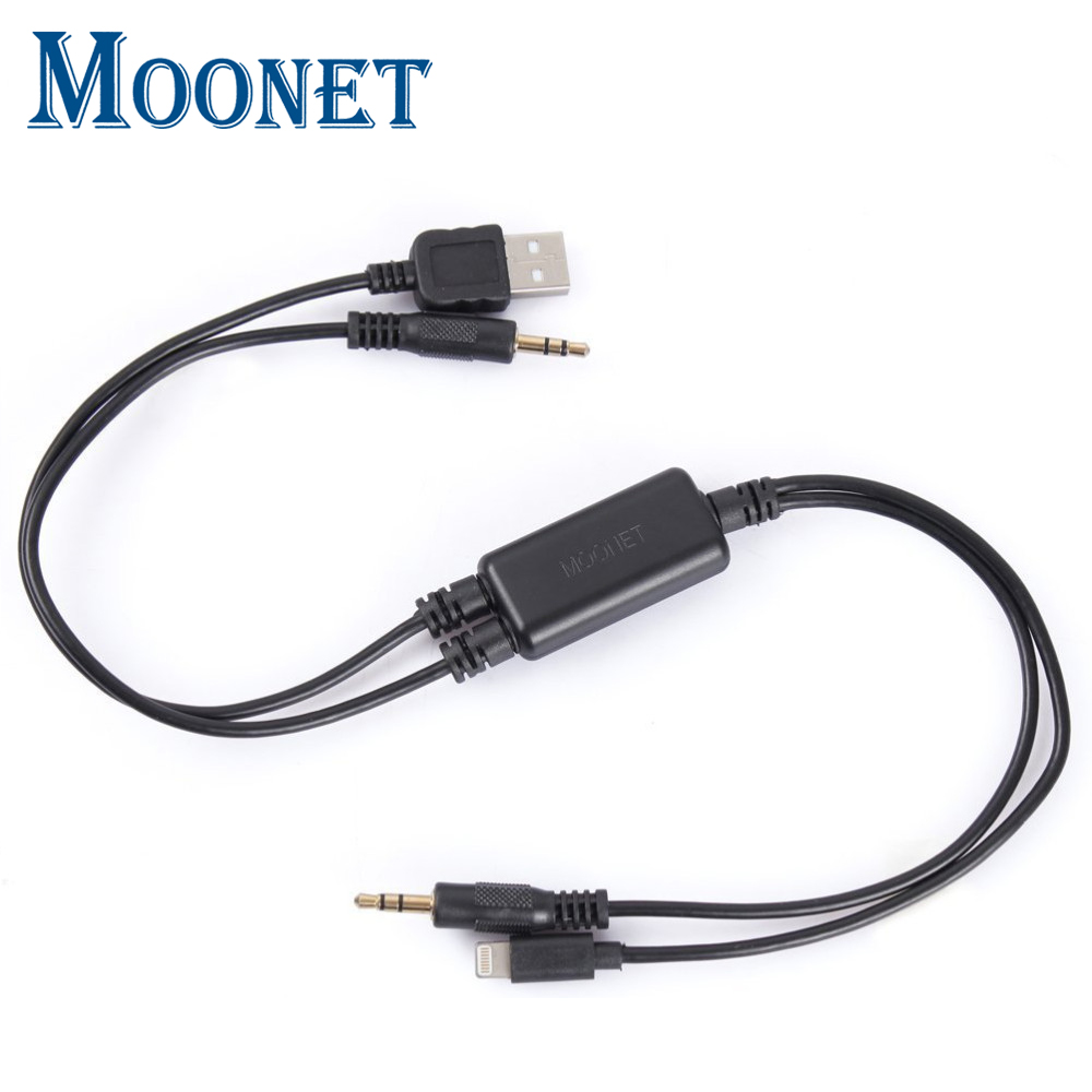 Moonet Car Audio collega iPhone5 / 6 iPod iPad Adattatore di interfaccia USB Cavo AUX per BMW mini cooper E26 E30 E32 QX179