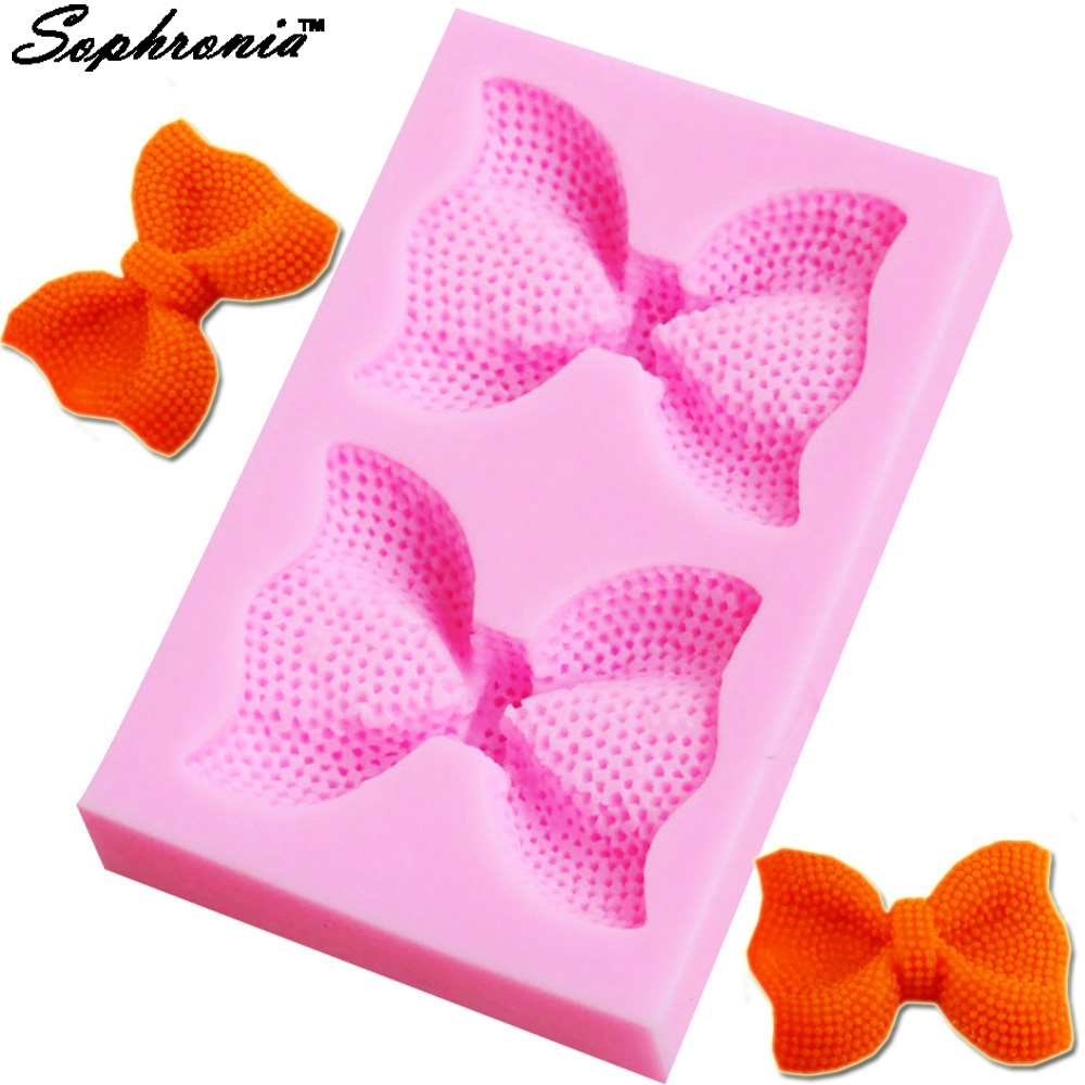 Sophronia 2 Style Cute Bows Silicone Mold silicone mold chocolate fondant cake decoration baking Cake Tool M222,8.8*5.7*1.5cm