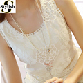 Lace Tank Top Women Shirt 2016 Summer Fashion O-neck Sleeveless Elegant Floral Embroidery Vest Plus Size Ladies Clothing XXXXL