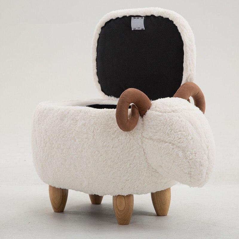 Moutons De Stockage Tabouret Animal Pouf Repose-pieds Tabouret/Siège Rembourré avec Vivid Adorable Animal-Comme Caractéristiques Pouf De Rangement Banc