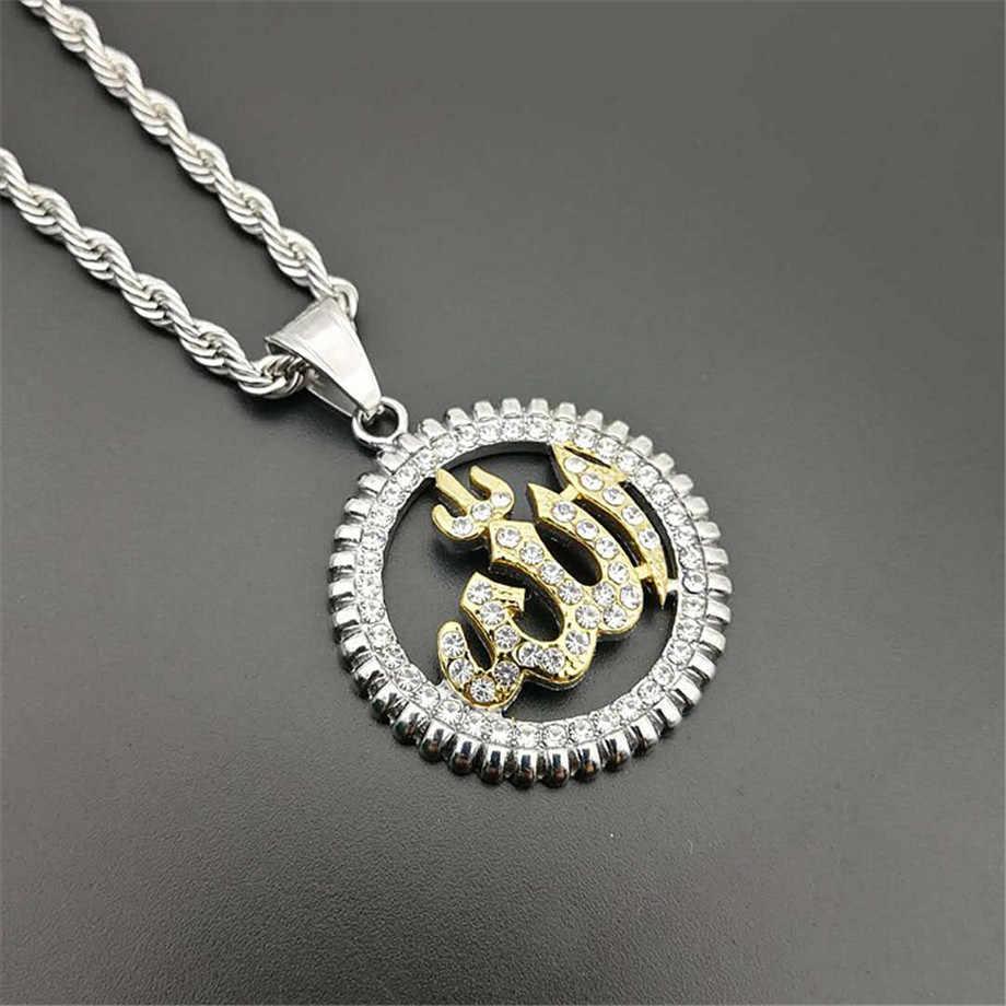 Religioso Rotonda Allah Collane con pendente di Colore Dell'oro Dell'acciaio inossidabile Della Collana di Strass Ghiacciato Fuori Bling Gioielli Islamico