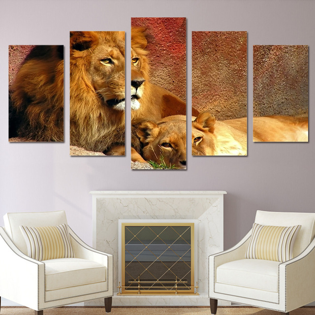 5 Pieces Canvas Prints Animals Lion Painting Wall Art Home Decor Panels Poster Pictures For