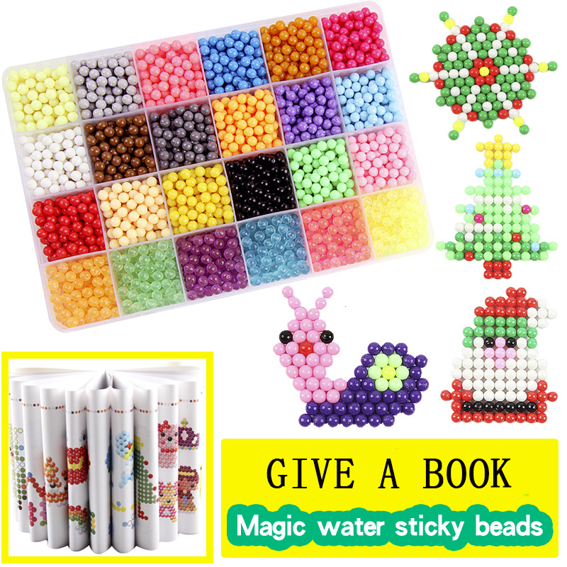 24 Color Multicolor DIY Water Spray Magic Beads Ring Refill 3D Puzzle Educational Kit Ball Game Toys For Children Juguetes