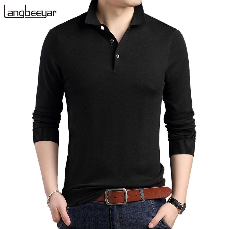 2019 New Fashion Brands Designer   Polo   Shirt Men Boys Street Wear Long SleeveSlim Fit Cotton Black Poloshirt Casual Mens Clothing