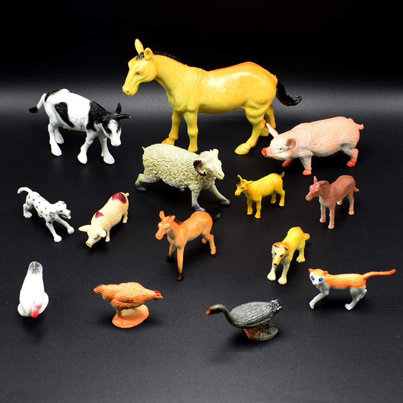 14Pcs/lot Mini Simulation Farm Animals Model Horse Donkey Chicken Dog Cows Sheep Model Toys For Kids Gift Biology Learning Props